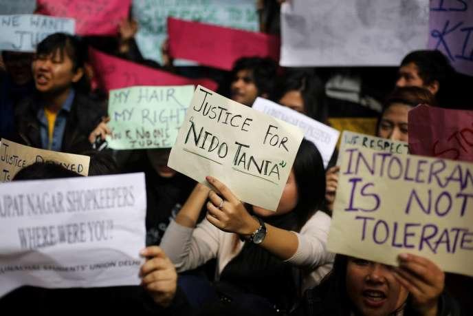 A New Delhi, lors d'une manifestation d'étudiants des Etats du nord-est, en hommage à Nido Tania.