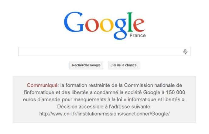 La page d'accueil de Google France et le communiqué sur la condamnation de la CNIL, le 8 février.