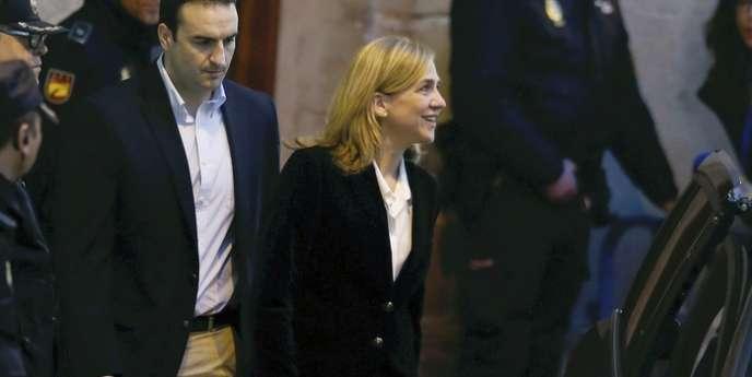 L'infante Cristina à la sortie du tribunal de Palma de Majorque, le 8 février.