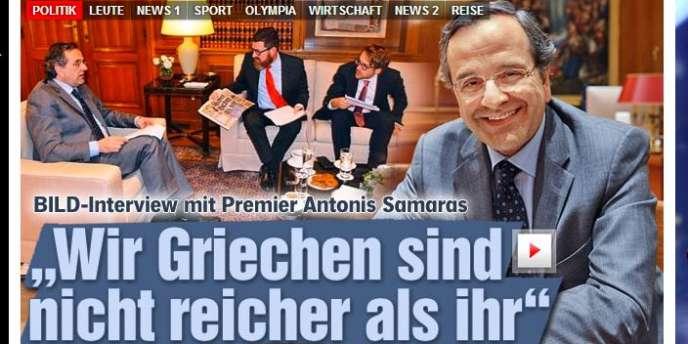 Interview du premier ministre grec, Antonis Samaras, dans le tabloïd allemand « Bild », le 10 février.