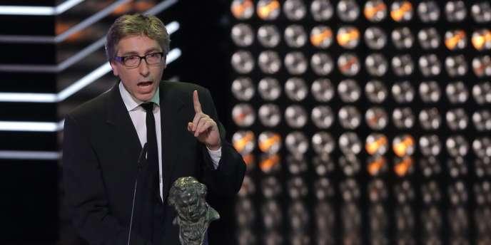 David Trueba après avoir reçu son prix Goya du meilleur réalisateur, le 9 février à Madrid.