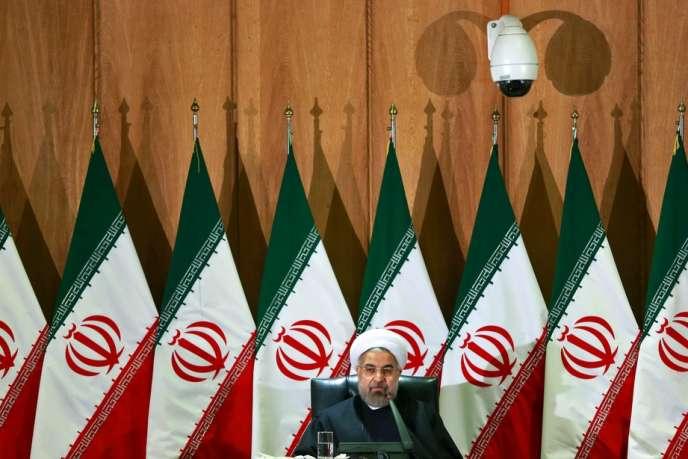 Le président Hassan Rohani lundi 10 février à Téhéran lors d'un discours devant les ambassadeurs étrangers et des dignitaires du régime iranien.
