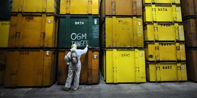 Une militante anti-OGM sur un site de production Monsanto à Trèbes (Aude), le 17 janvier.