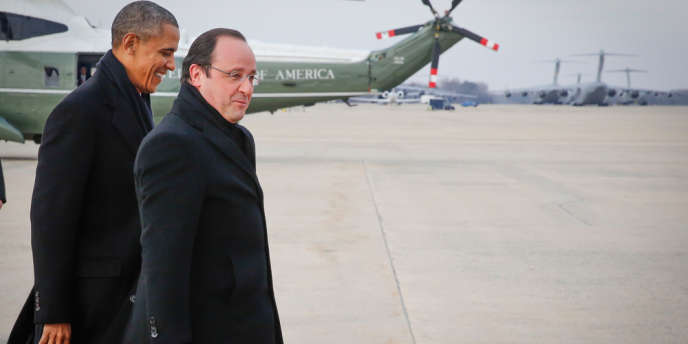 François Hollande accueilli par Barack Obama à son arrivée, le 10 février.