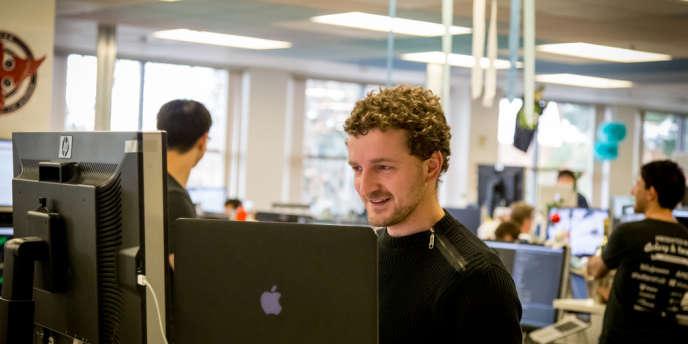 Florian Jourda dans les locaux de l'entreprise Box, lundi 10 février.