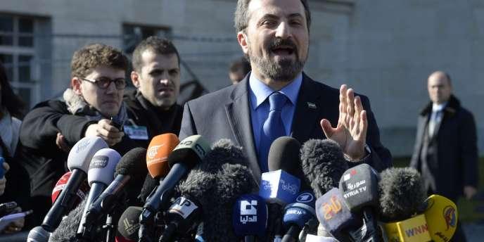 Le porte-parole de la Coalition nationale syrienne, Louay Safi, le 11 février à Genève.