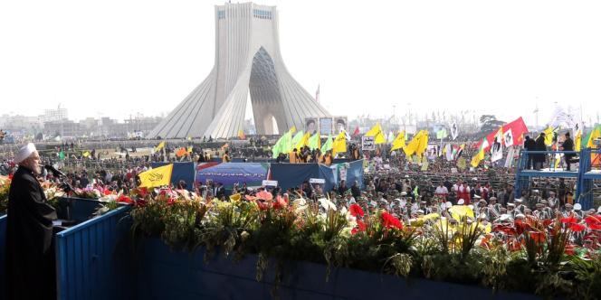 Hassan Rohani pendant son discours, place de la Liberté, à Téhéran, le 11 février.