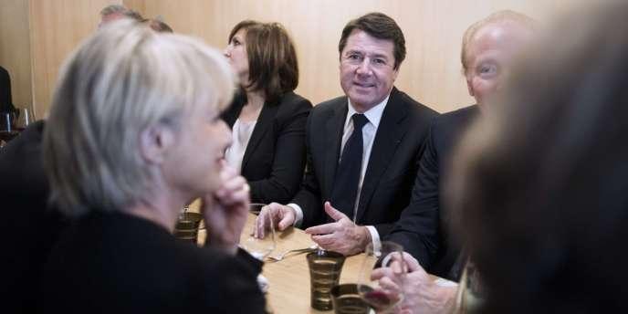 Christian Estrosi, maire UMP de Nice, avec Nora Berra et Brice Hortefeux lors d'une rencontre des