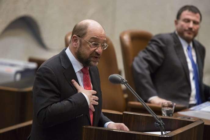 Martin Schultz, mercredi 12 février devant la Knesset, le Parlement israélien.