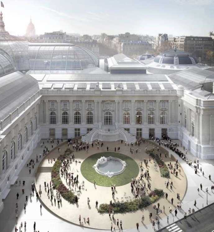 Vue d'artiste du square Jean Perrin, future entrée du public (hors Nef) pour les galeries d'expositions et le Palais de la Découverte.