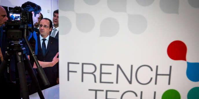 François Hollande et Arnaud Montebourg visitent l'accélérateur de start-up françaises àˆ San Francisco, le 12fŽévrier.