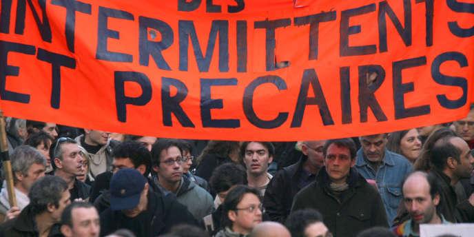 Paris, mars 2007, lors d'une précédente manifestation des intermittents du spectacle.