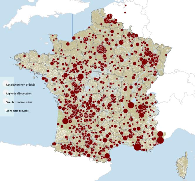La carte de France des enfants juifs déportés.
