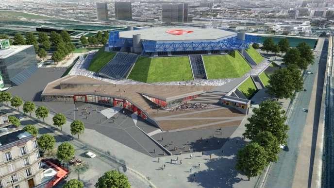 Projet de rénovation du Palais omnisports de Paris-Bercy. Fin prévue des travaux en octobre 2015.