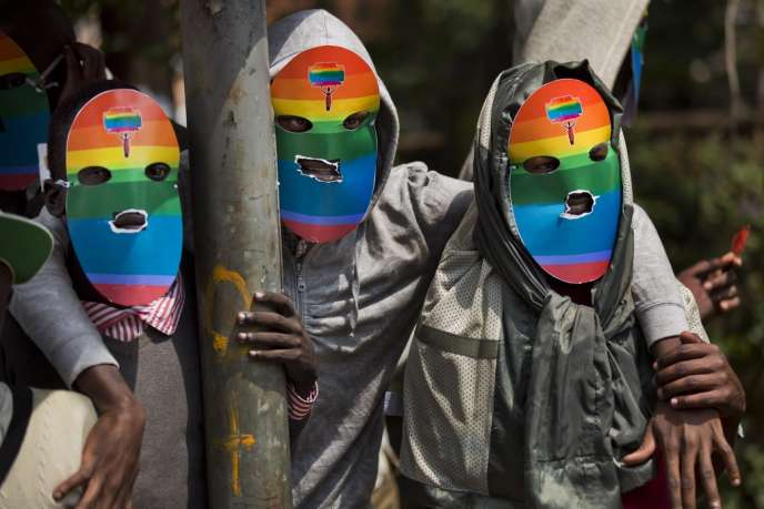 Manifestation contre un projet de loi antihomosexuel ougandais à Nairobi (Kenya).