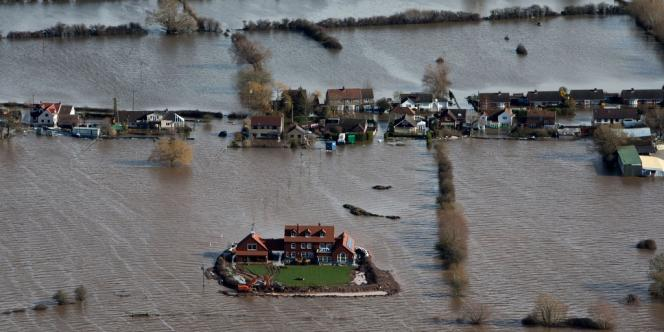 Inondations à Moorland, dans le Somerset, dans le sud-ouest de l'Angleterre, le 13février.
