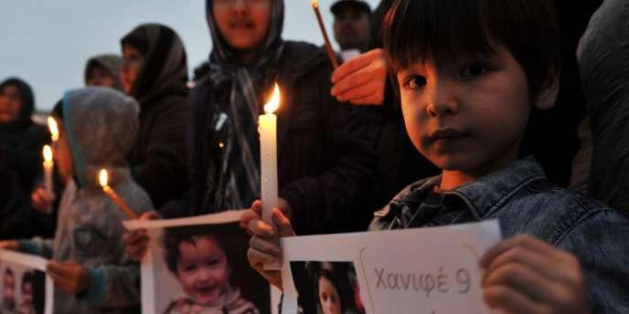 Le 7février, des Afghans manifestent à Athènes en souvenir du naufrage de migrants au large de l'île de Farmakonisi, en mer Egée.