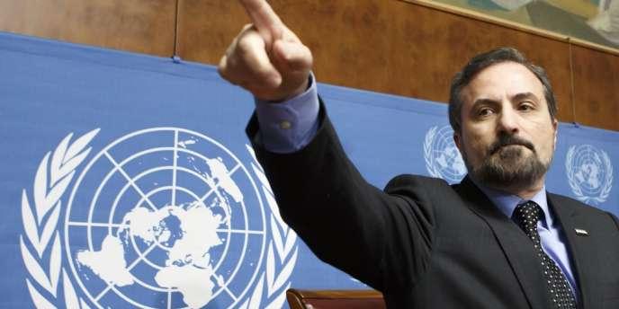 Louay Safi, porte-parole de la Coalition nationale syrienne, vendredi14février à Genève.