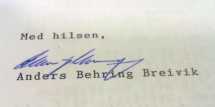 La signature d'Anders Behring Breivik au bas de la lettre dans laquelle il dénonce ses conditions de détention.