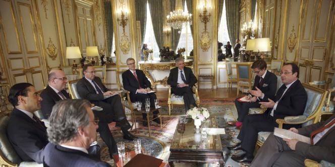 Le 4 février, à l'Elysée, lors d'un entretien entre François Hollande et des chefs d'entreprise.