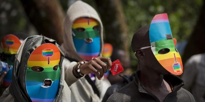 Manifestation contre le projet de loi ougandais réprimant l'homosexualité, le 10 février 2014 au Kenya.