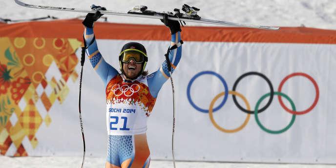 Le Norvégien Kjetil Jansrud, à son arrivée du super-G, le 16 février.