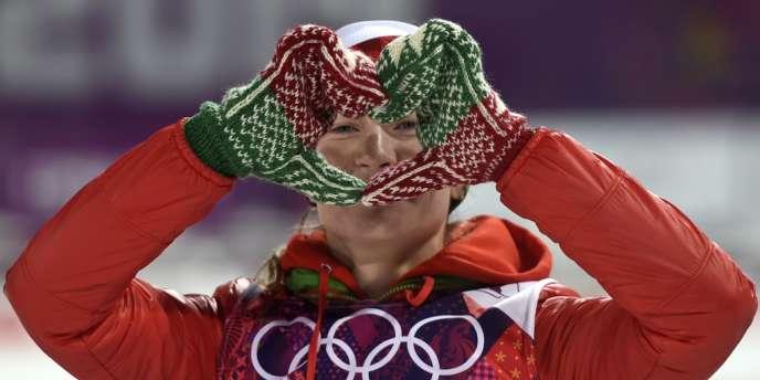Darya Domracheva, trois médailles d'or au biathlon, impressionne depuis le début des JO.