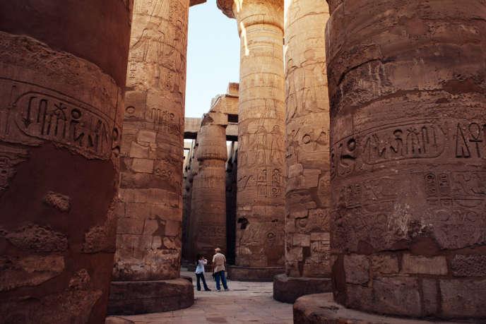 Dans le temple de Karnak, à Louxor, en octobre 2013.
