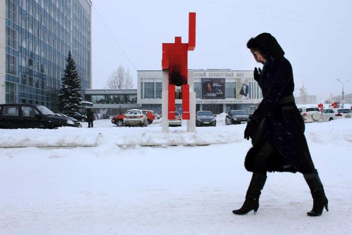 « L' Homme rouge », œuvre d'art moderne installée à Perm, a été incendiée le 21 janvier.