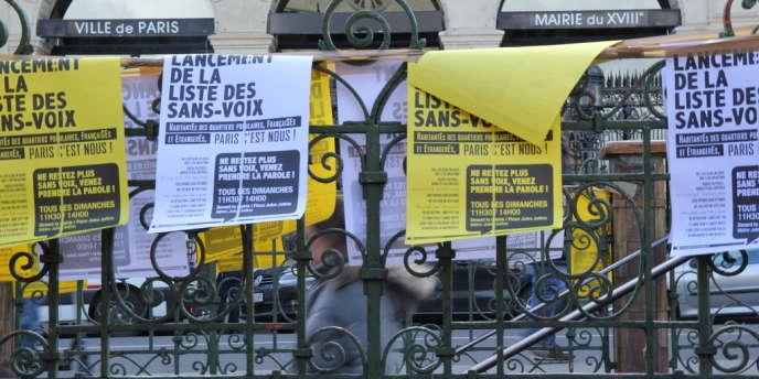 Des affiches de la Liste des sans-voix, à Paris (18e).
