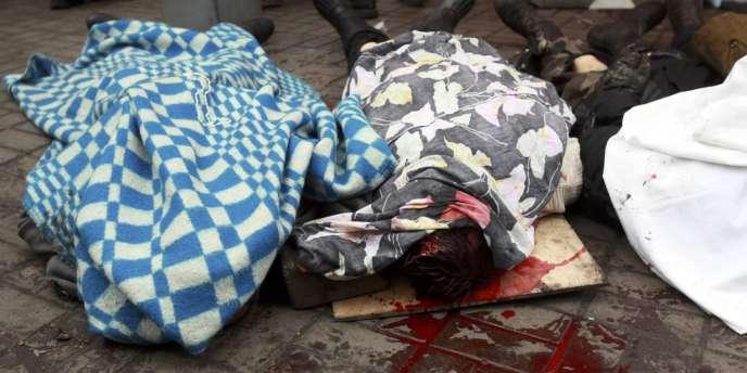 Des combattants tués à Kiev, le 20 février.