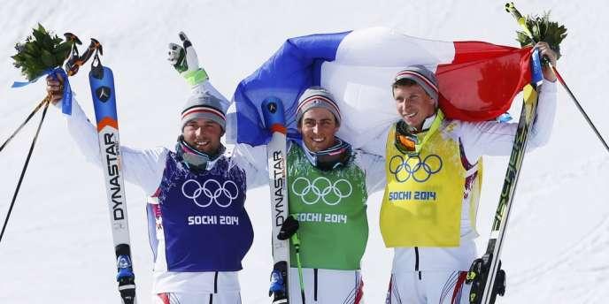 De gauche à droite : Arnaud Bovolenta, Jean-Frédéric Chapuis et Jonathan Midol, le podium 100 % du skicross, le 20 février.