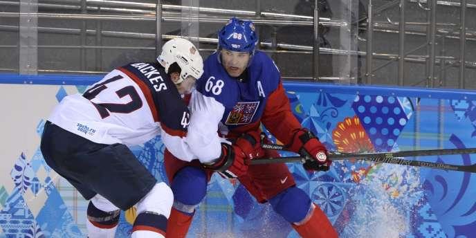 David Backes, l'une des armoires à glace de l'équipe des Etats-Unis, le 19 février à Sotchi.