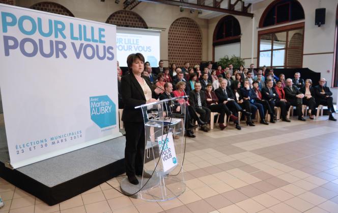 Martine Aubry, lors de la présentation de sa liste pour les municipales, à Lille le 25 janvier.