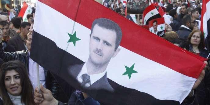 Manifestation pro-Assad le 19 février à Damas.