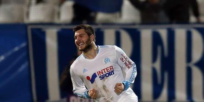 André-Pierre Gignac, buteur face à Lorient, le 22 février au Vélodrome.