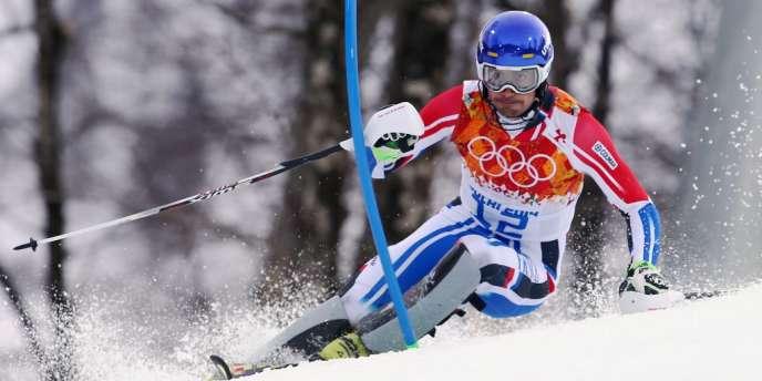Le Français Jean-Baptiste Grange, 5e à l'issue de la première manche de slalom, samedi 22 février, lors des Jeux de Sotchi.