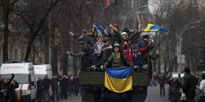 Dans les rues de Kiev, le 22 février.