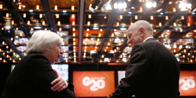 Janet Yellen, la présidente de la Fed et le patron de la banque centrale australienne, Glenn Stevens, samedi 22 février , à Sydney.