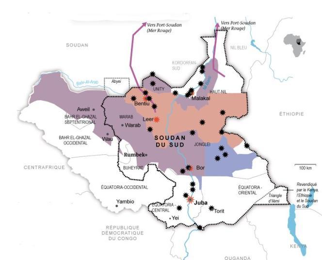 Carte du Soudan du Sud.
