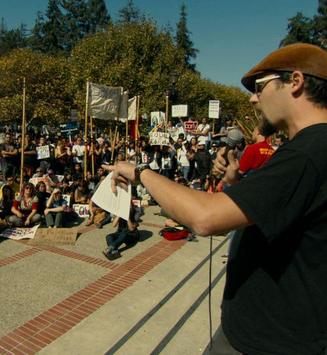 Un rassemblement d'étudiants grévistes sur le campus de Berkeley en Californie.
