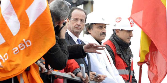 François Hollande à Florange le 24 février 2012, pendant la campagne présidentielle.