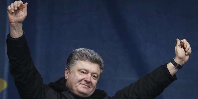 Petro Porochenko, le 9février à Kiev, lors d'un rassemblement d'opposants.