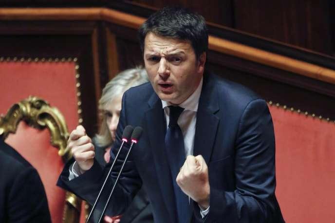 Le premier ministre italien Matteo Renzi lors du vote de confiance au Sénat le 24 février.