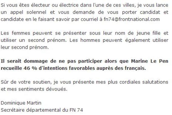 Capture d'écran du site de Dominique Martin, candidat FN à Cluses.
