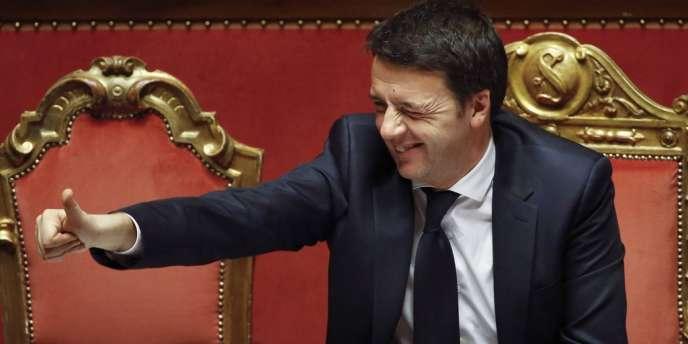 Le nouveau chef du gouvernement italien, Matteo Renzi, lors du vote de confiance du parlement, le 24 février à Rome.