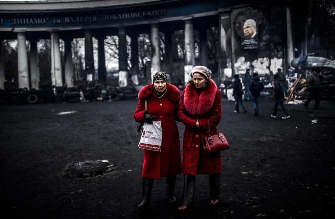 Devant le Stade Dynamo, le 25 février à Kiev.