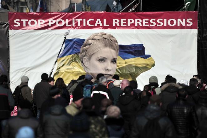 Un portrait de Ioulia Timochenko, le 24 février à Maïdan.