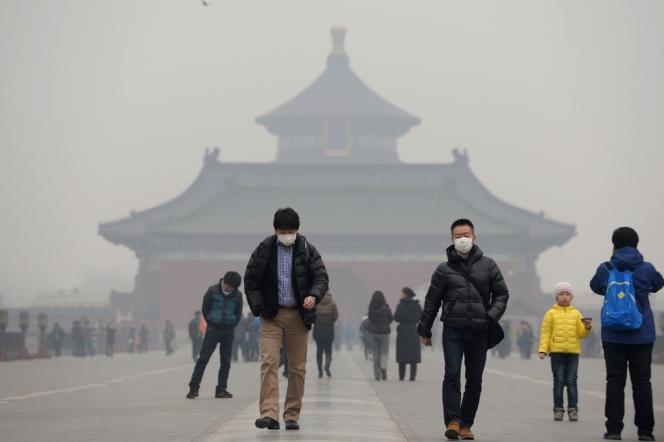 Jour de pollution à Pékin, en février.