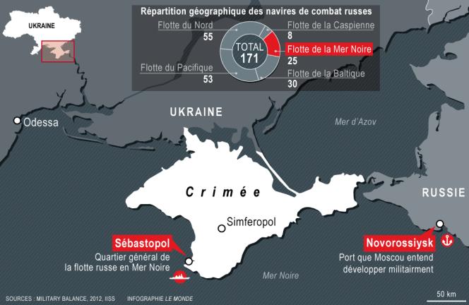 Carte de la répartition des navires russes en Crimée